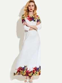 Flower Print Full Length Dress