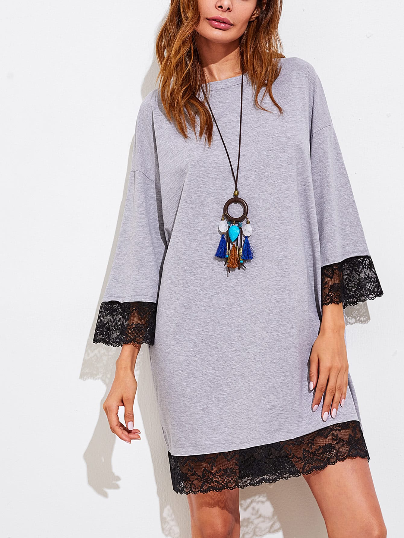 Contrast Lace Trim V Cut Back Marled Tee Dress