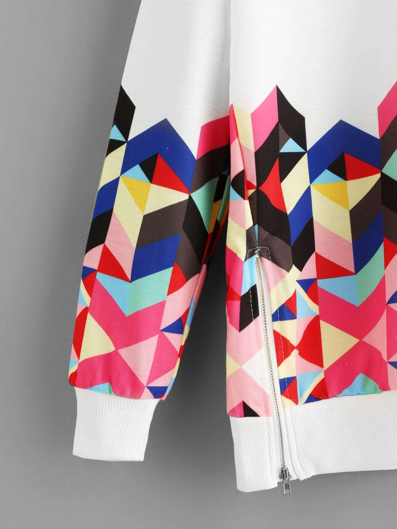 Geo Print Zipper Side Drop Shoulder Sweatshirt