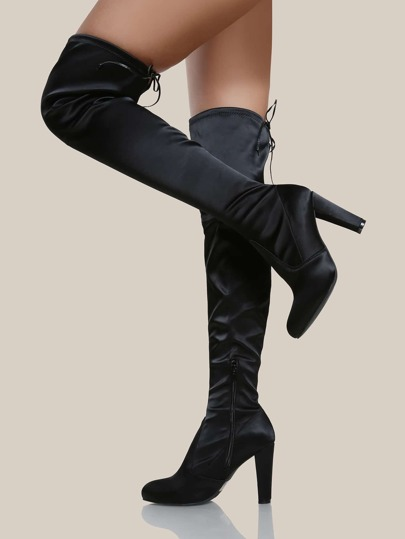 Round Toe Satin Over The Knee Boots BLACK