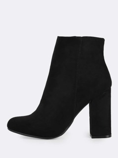 Solid Zip Up Heel Booties BLACK