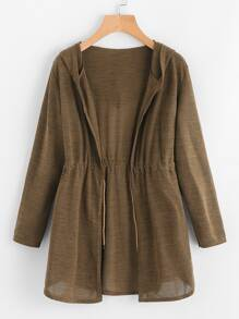 Drawstring Waist Hooded Cardigan