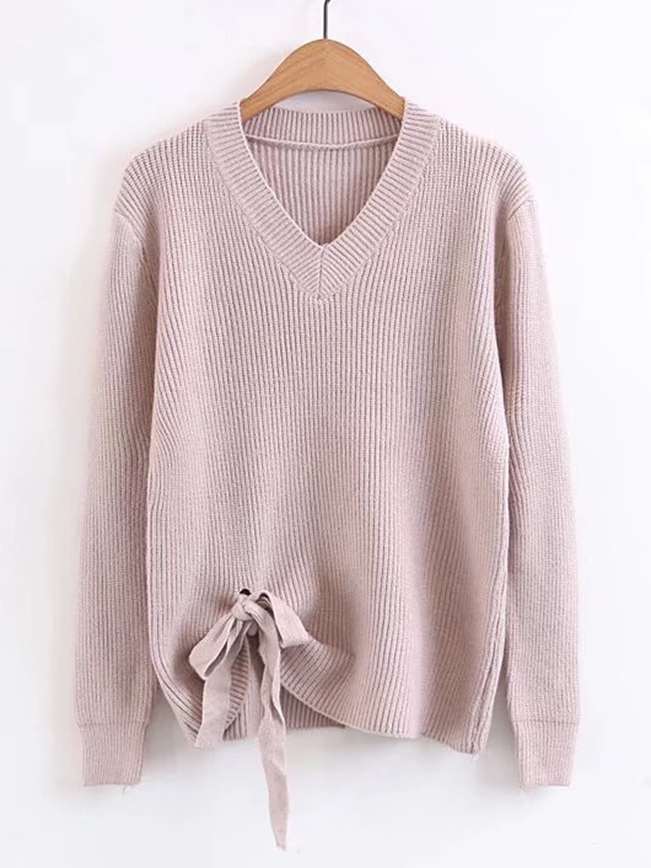 Ribbed Trim Knot Hem Sweater sweater170804203