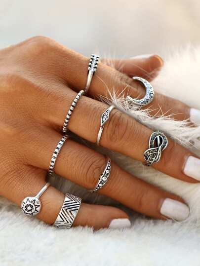 Sun And Moon Etched Ring Pack