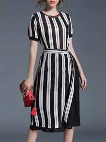 Color Block Striped Pleated Dress