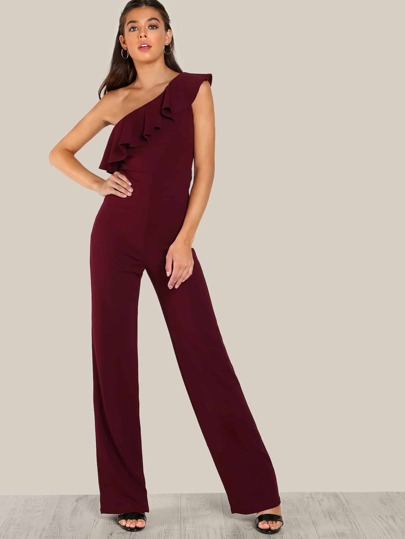 Single Shoulder Ruffle Flounce Jumpsuit BURGUNDY