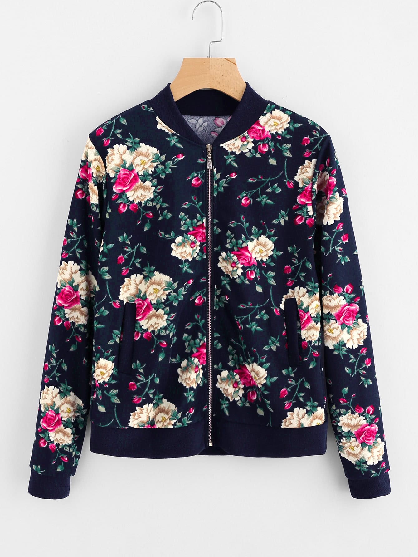 Image of All Over Flower Print Contrast Trim Jacket