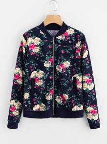 All Over Flower Print Contrast Trim Jacket