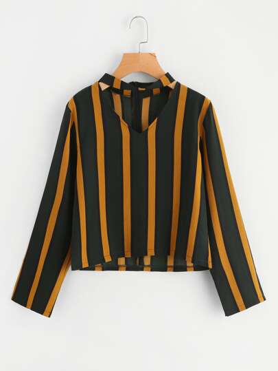 V Cut Striped Blouse