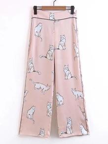 Pantalones con estampado de animal con pernera amplia