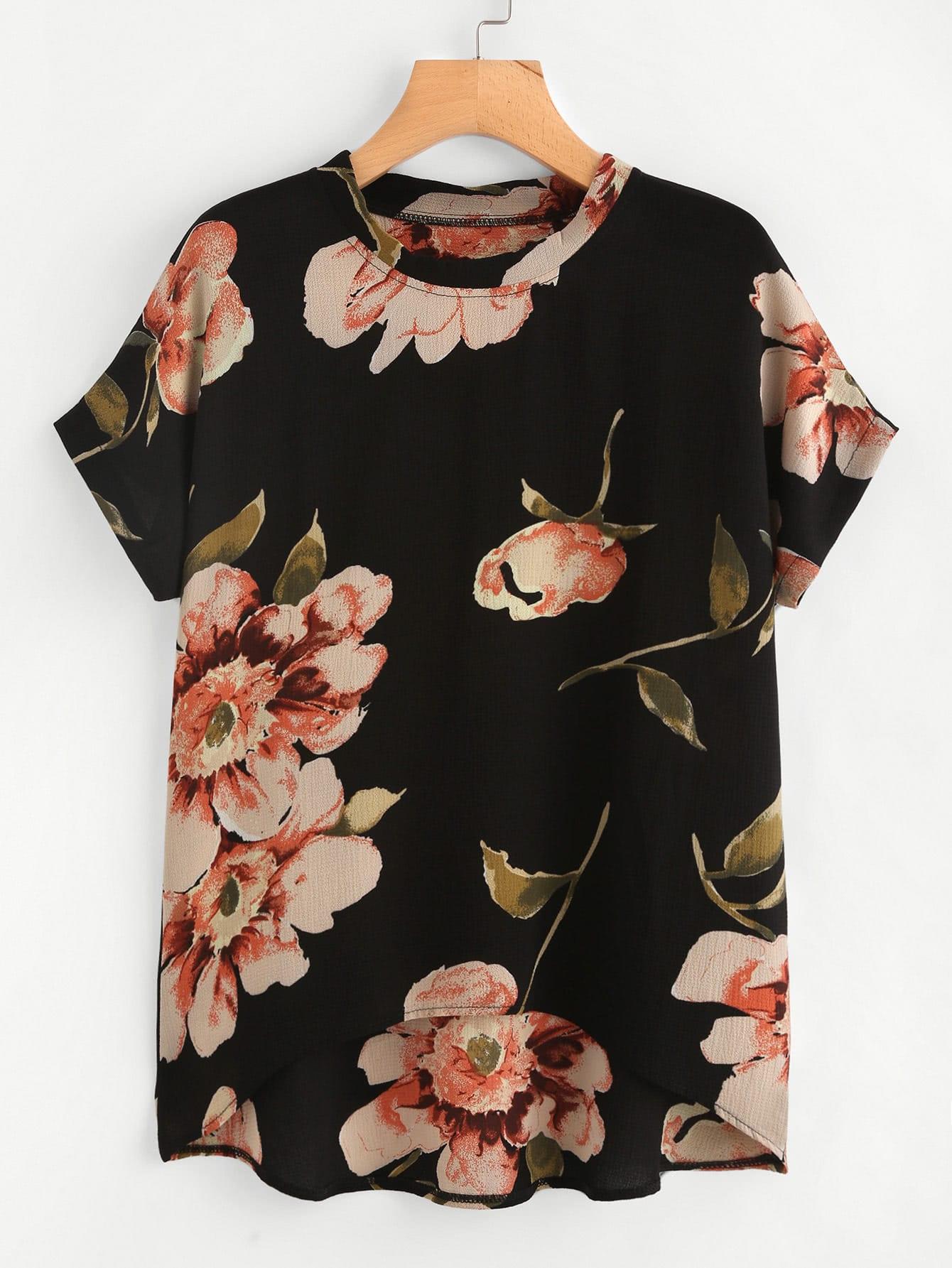 Random Florals Dip Hem Chiffon Top all over florals dip hem shirt