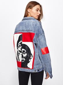 Модная джинсовая куртка с аппликацией и текстовым принтом
