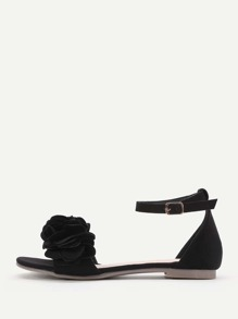 Sandalias planas con correa al tobillo con aplicación de flor