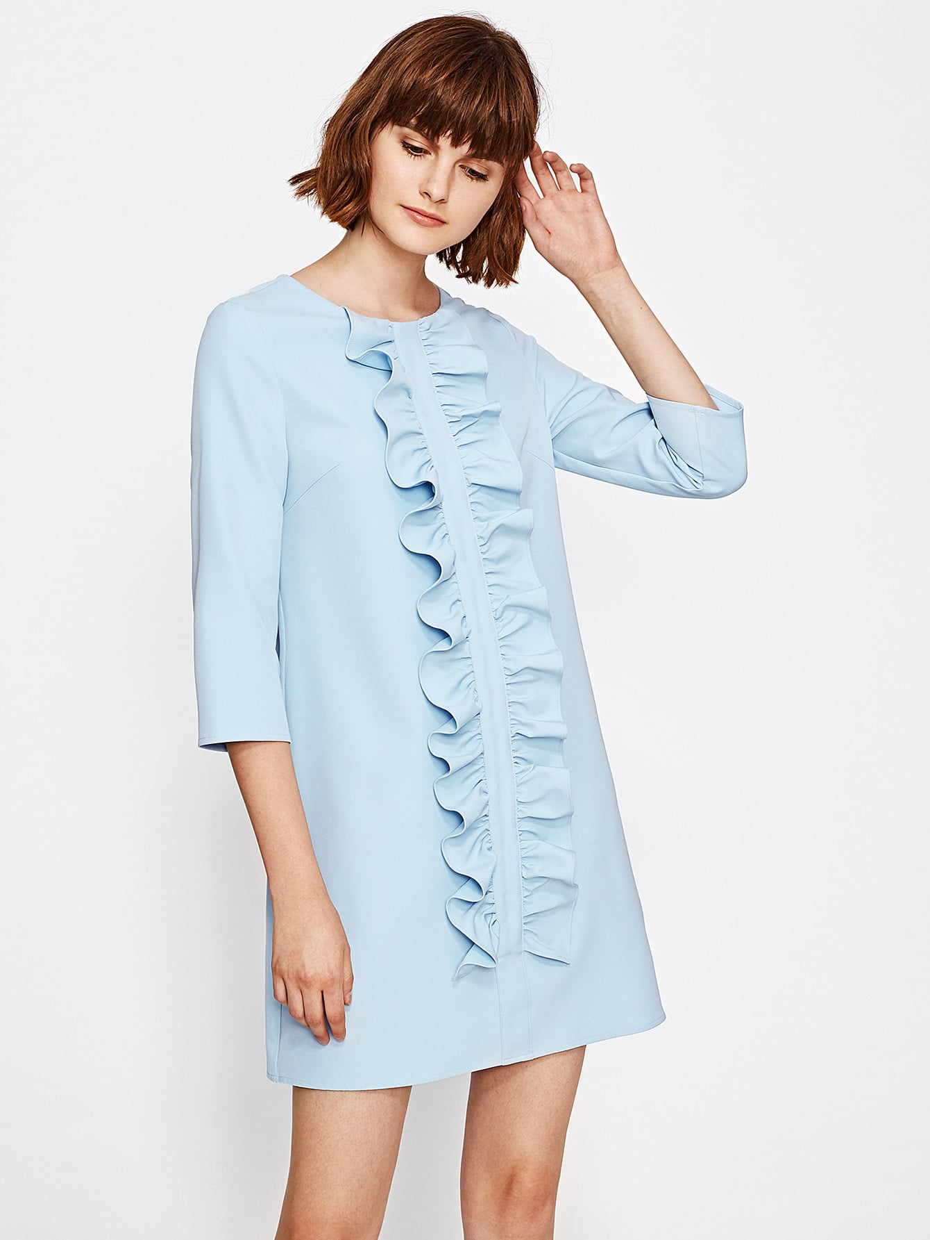 Ruched Flounce Front Tunic Dress ruched and button front flounce sleeve dress