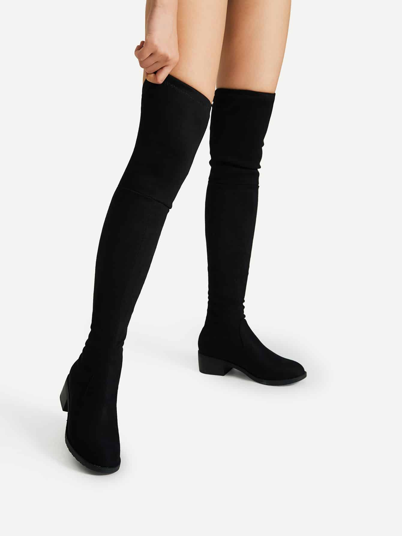 Lace Up Detail Block Thigh High Heeled Boots