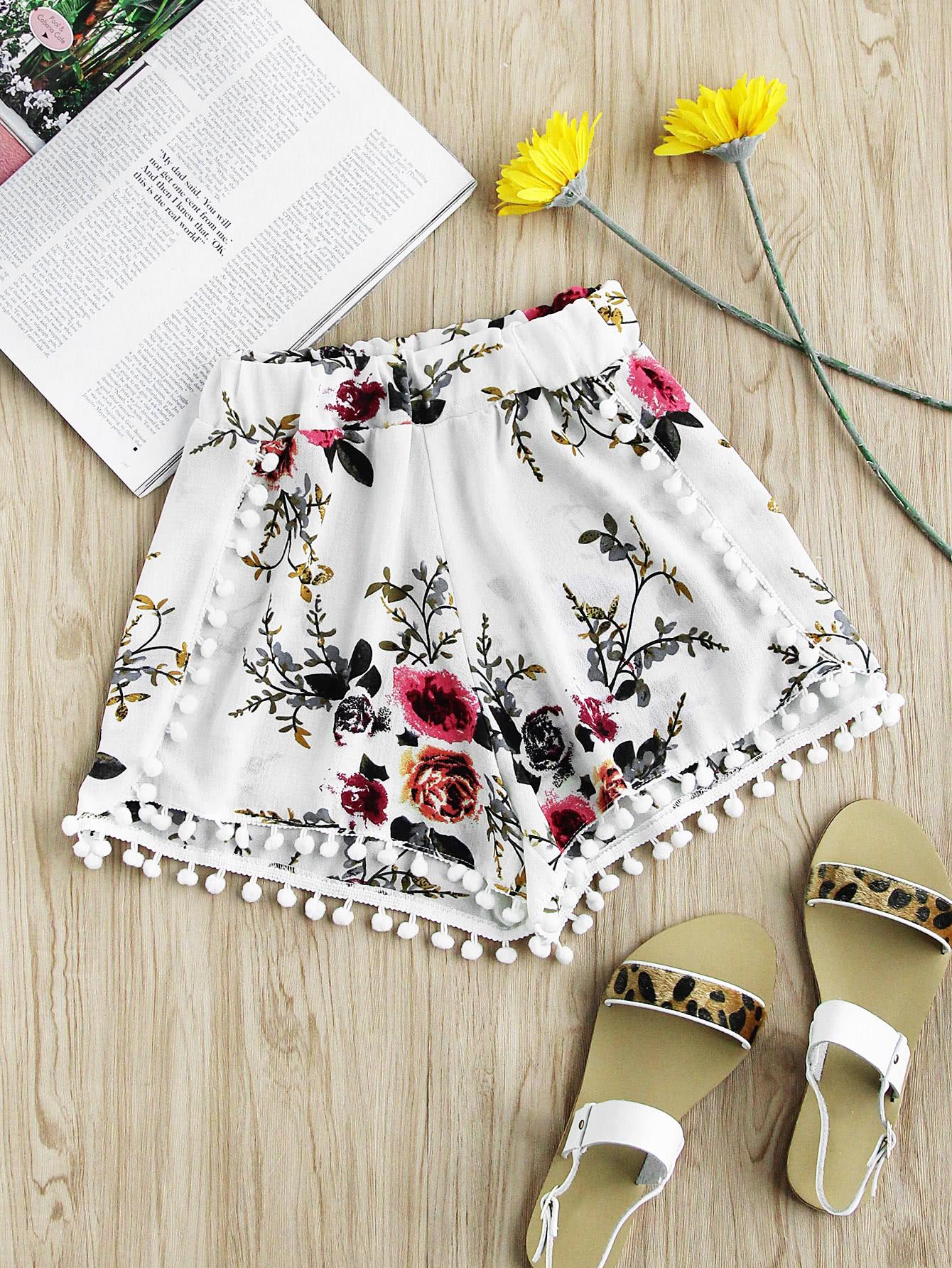 Купить Цветочные печати Случайные шорты Pom Pom Trim, null, SheIn