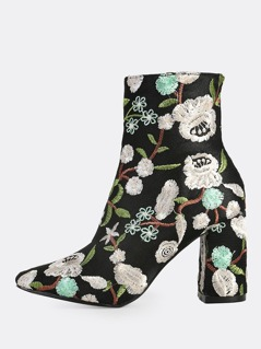 Floral Stitched Ankle Booties MULTI