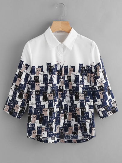 Blouse trapèze imprimée du chat de l\'animation