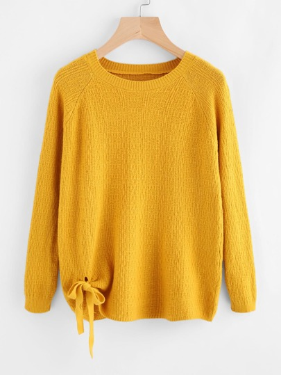 Raglan Sleeve Tie Detail Sweater