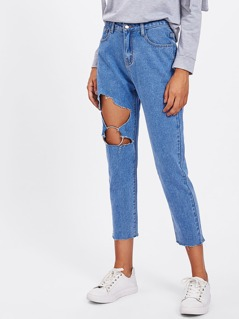 O-Ring Cutout Mom Jeans
