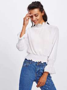 Elastic Cuff And Waist Textured Blouse