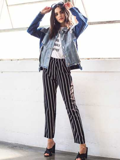 Pleated Waistband Pinstripe Peg Pants With Hidden Pocket