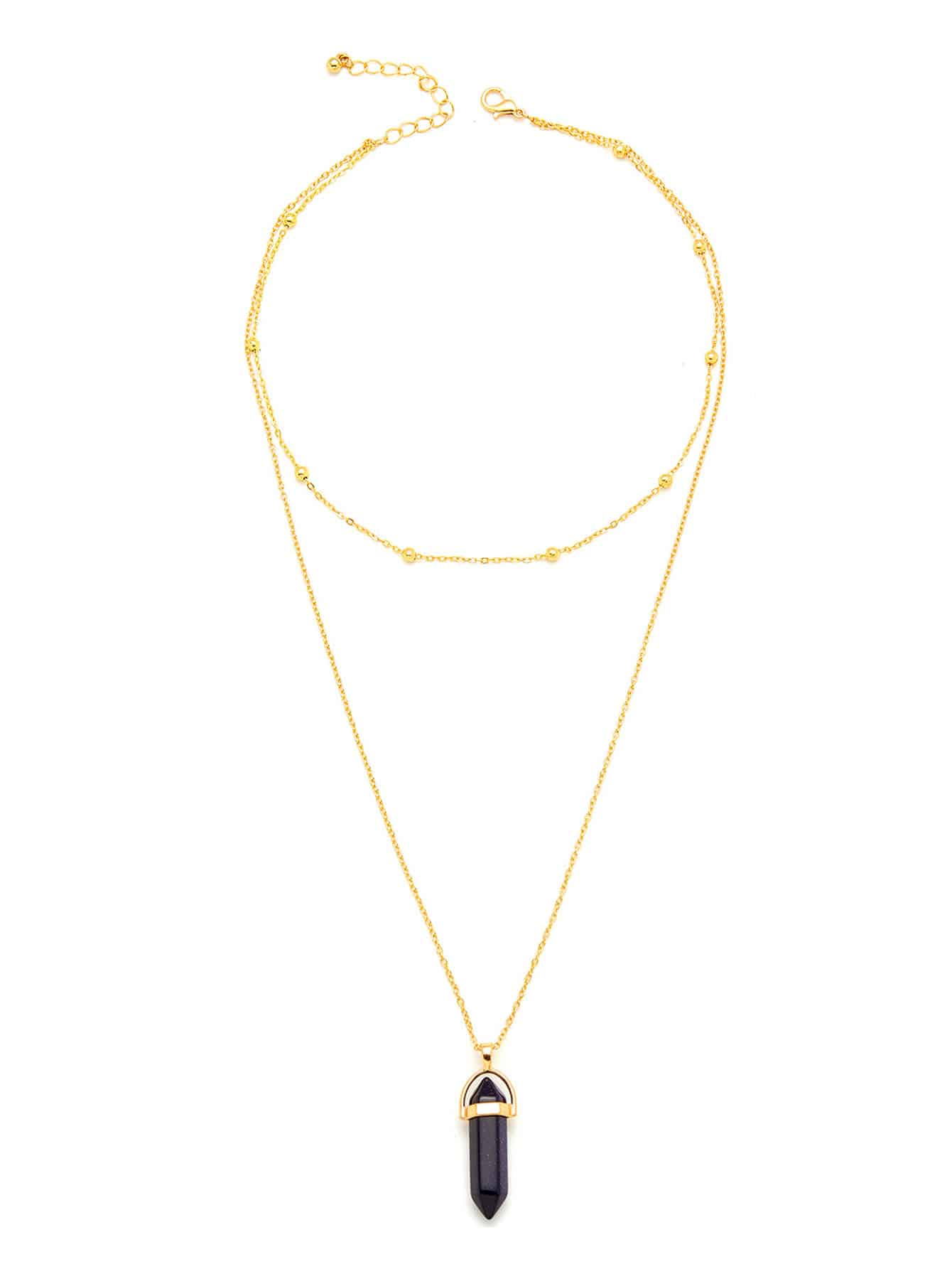 Contrast Crystal Pendant Chain Necklace