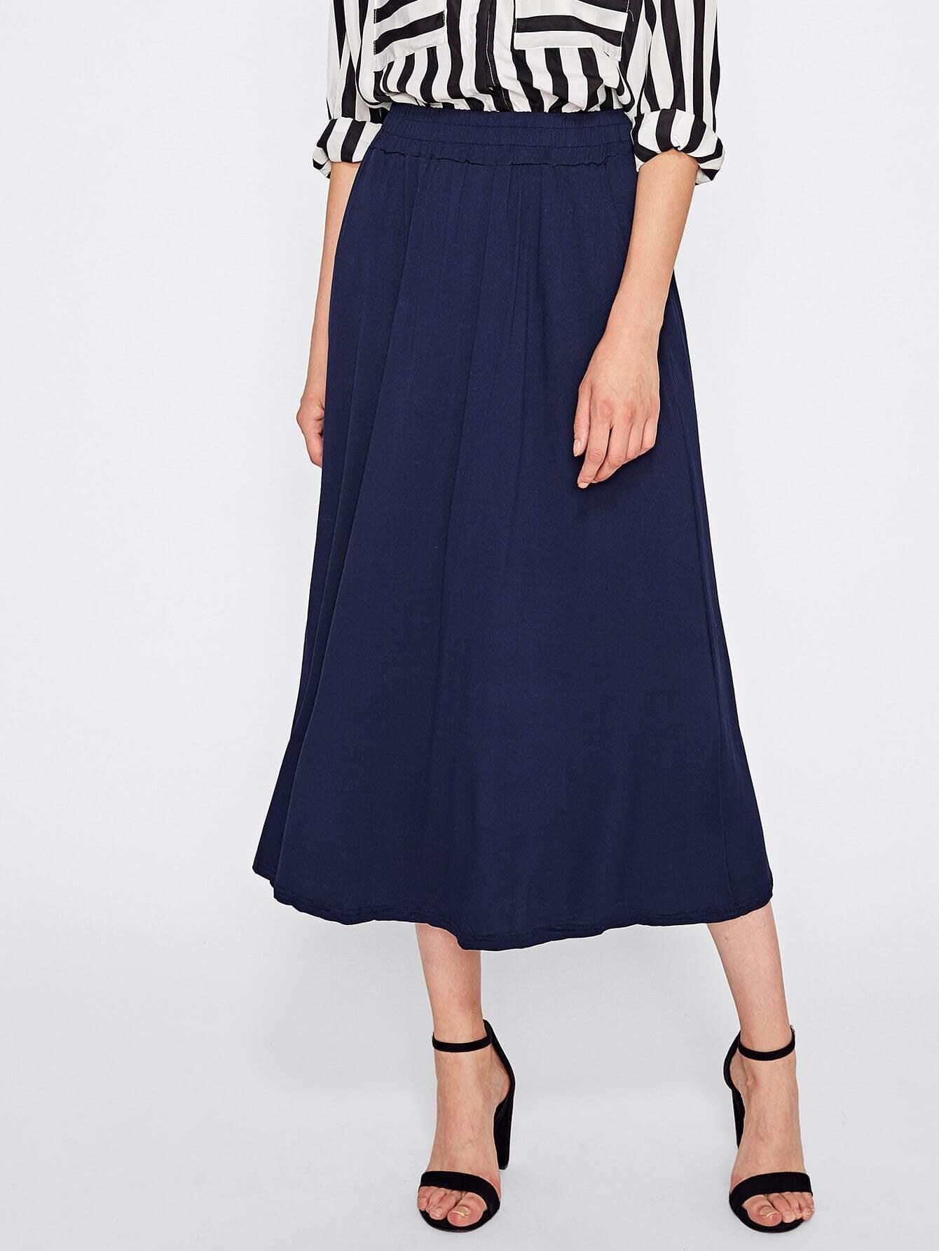 Wide Elasticized Waistband Skirt
