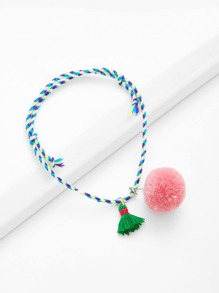 Tassel & Pom-pom Decorated Woven Bracelet