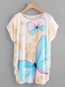 Dolman Sleeve Shirred Side Butterfly Print Tee