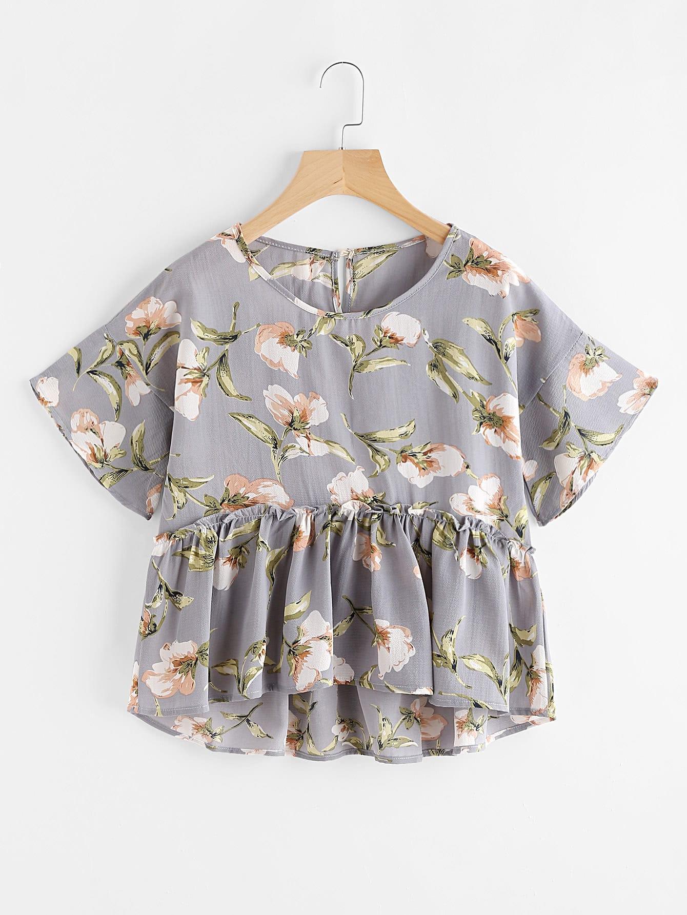 Florals Keyhole Back Frill Hem Babydoll Blouse v neck floral flare sleeve tunic top