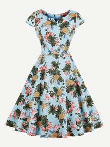 Random Pineapple Print V Cut Swing Dress