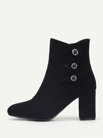 Side Flower Button Heeled Ankle Boots