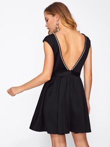 Peal Beading Open Back Fit & Flare Dress