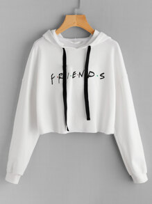 Friends Print Drop Shoulder Raw Hem Hoodie