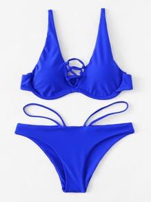 Criss Cross Adjustable Straps Bikini Set