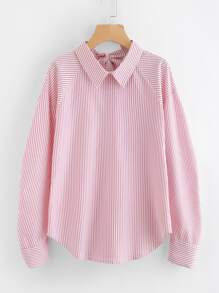 Bow Tie Back Curved Hem Striped Blouse