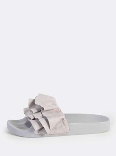 Ruffle Band Slides LIGHT GREY