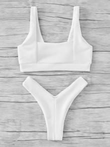 Textured High Leg Bikini Set