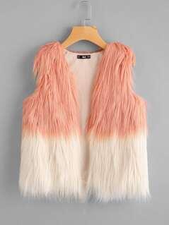 Two Tone Faux Fur Vest