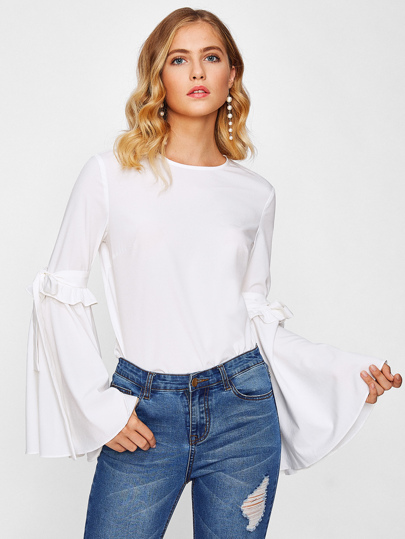 Bow Tie Exaggerated Fluted Sleeve Keyhole Back Top
