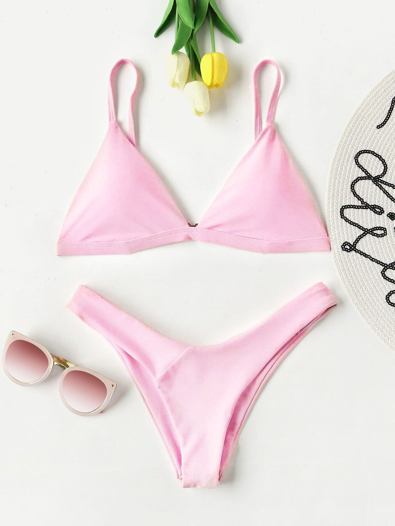 High Leg Triangle Bikini Set