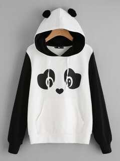 Panda Print Pom Pom Detail Hoodie
