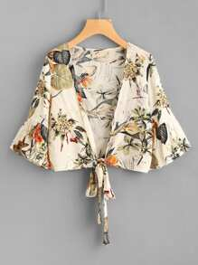 Tropical Print Flute Sleeve Tie Front Top