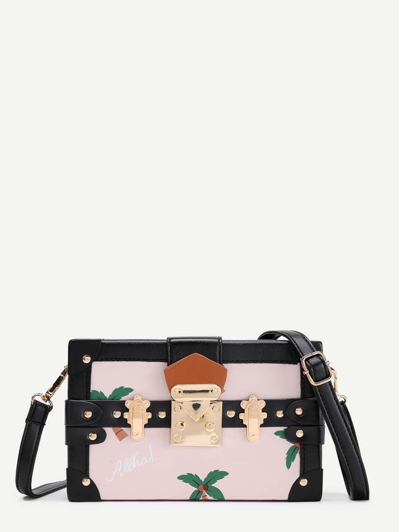 Palm Tree Box Shaped PU Shoulder Bag bag170829303
