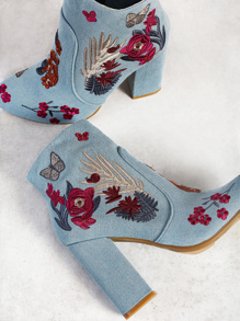Floral Embroidered Zip Up Heel Booties DENIM