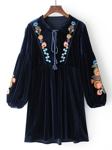Tassel Tie Neck Drop Shoulder Flower Embroidery Velvet Dress