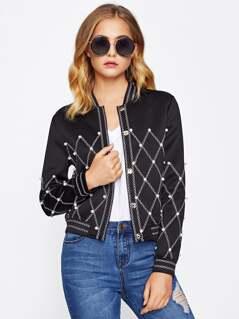 Geo Stitch Pearl Beading Jacket