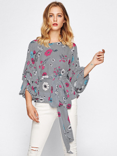 Gathered Sleeve Self Tie Mixed Print Top