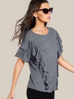 Ruffle Front Soft Knit Top GREY